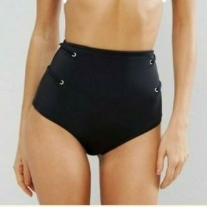 ASOS Swim High Waist Bikini Bottom w/ Eyelet Black